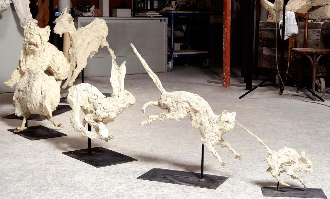 1, 2, 3, SOLEIL - ANIMAUX - 1988 - plâtre - hauteur : 33 à 105cm