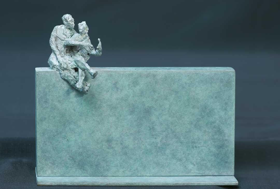 COUPLE DU SOIR - 1994 - bronze - 12,7x15x5,5cm