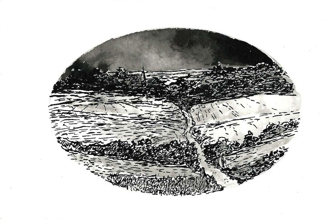CHEMIN D'ÉCRETTEVILLE - encre au pinceau et à la plume -10,6x15,5cm