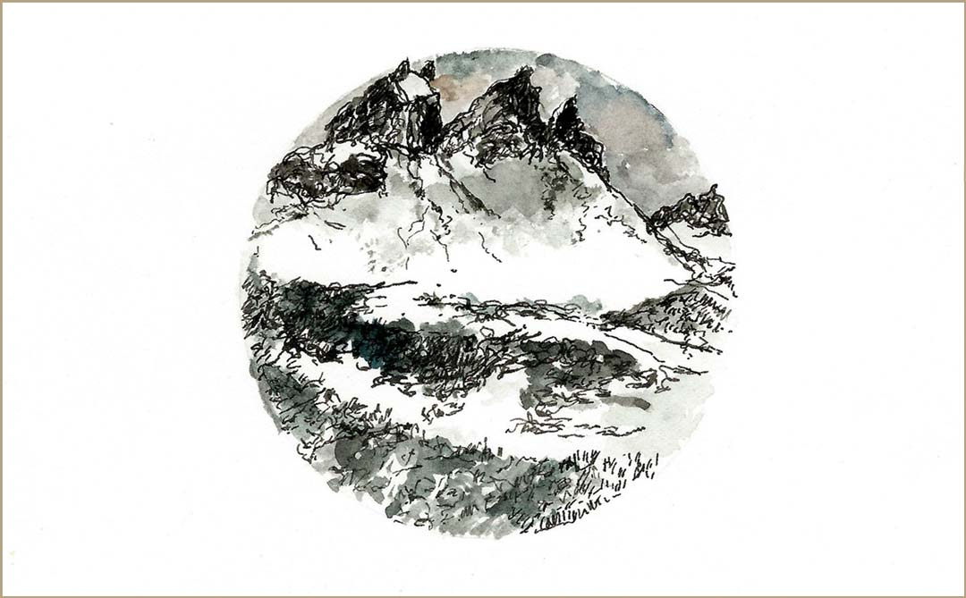 ALBIEZ - encre aquarellée au pinceau et à la plume - 17x9,3cm