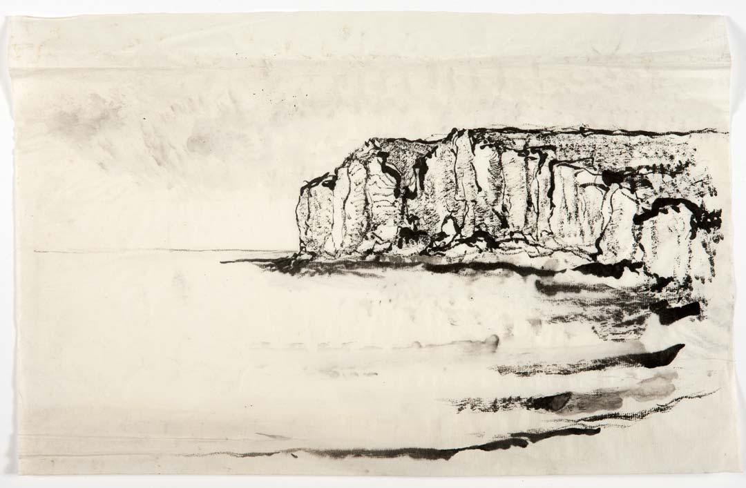 FALAISE AMONT - encre au pinceau -31x42cm