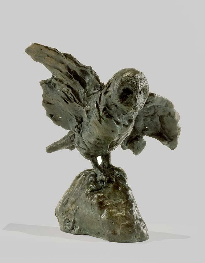 HIBOU SUR ROCHER - bronze - 2004 - 13x14x10cm