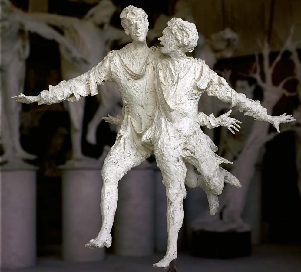 LE GRAND COUPLE HEUREUX - 1989 - plâtre - 198x180x155cm