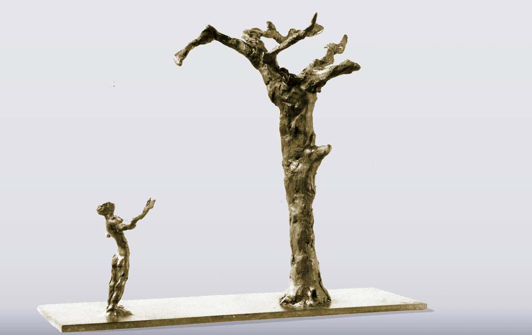 L'HOMME AMOUREUX DE SON ARBRE - 1991 - bronze 19x23x10,5cm