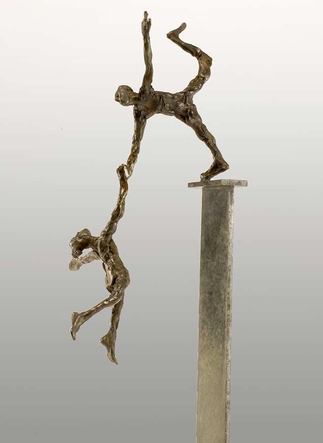 PETIT COUPLE DANS L'ESPACE - 2005 - bronze - 34x10x13cm