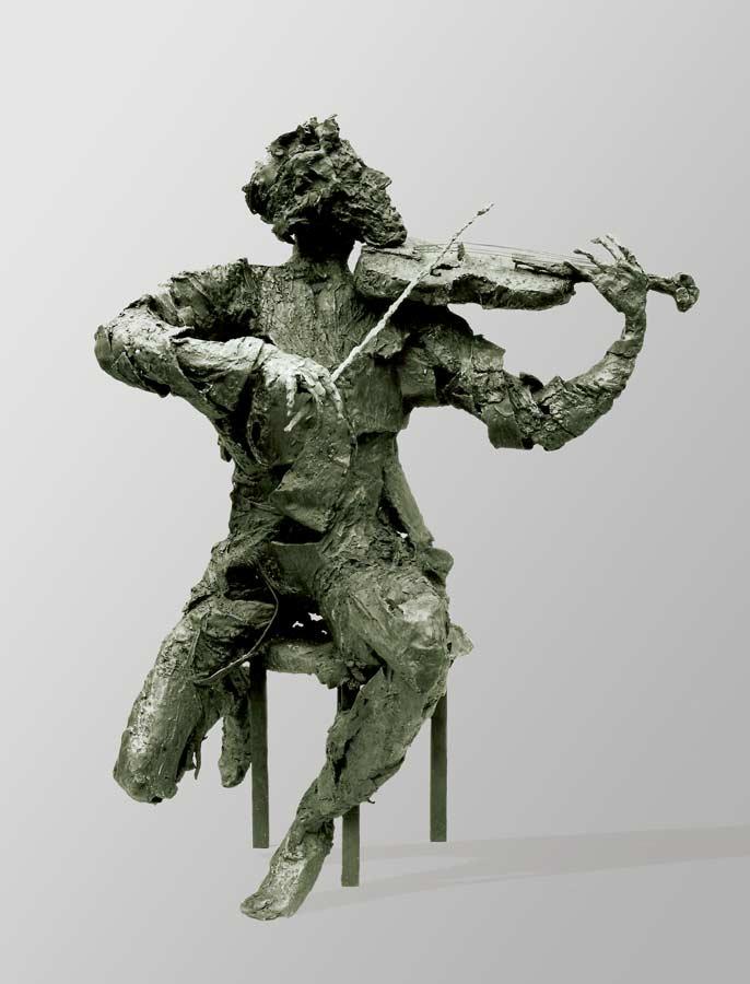 LE VIOLONISTE - 1989 - bronze -  130x120x90cm