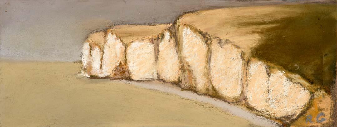 FALAISE DU SOIR -pastel sur papier - 12x32cm